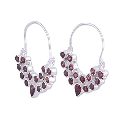 NOVICA Garnet .925 Sterling Silver Hoop Earrings 'Princess Radiance'