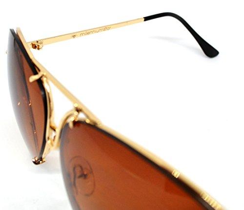 nueva 2018 unisex sol de Millennium Star BIGEYES gafas Marrón de colección Oro xzaq07F