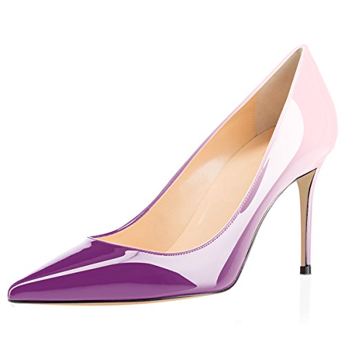 (Eldof Women's High Heel Pumps Classic 3.2in Patent Pointed Toe Stilettos 8cm Wedding Party Dress Pumps Purple Pink US10.5)