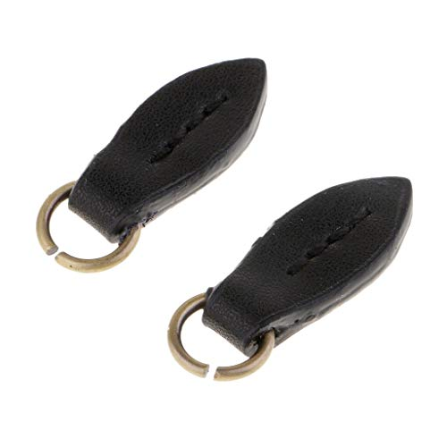 - 2Pcs Leaf PU Leather Zipper Slider Replacement Zip Puller for Clothes Repair | Color - Black
