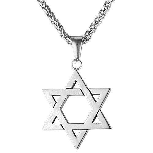 Star Of David White Necklace - U7 Jewish Jewelry Magen Star of David Pendant Necklace Women Men Chain Stainless Steel Israel Necklace