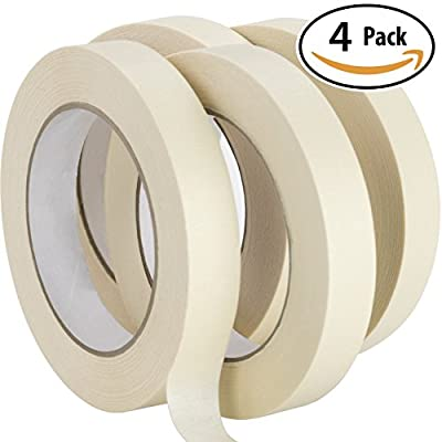 Nova Supply 3/4 in Pro-Grade Masking Tape. Single - 36 Rolls = Yards of Multi-Use, Easy Tear Tape. Great for Labeling, Painting, Packing and More. Adhesive Leaves No Residue.