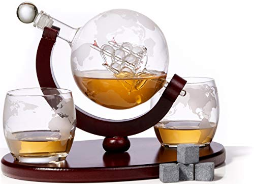 Whiskey Liquor (Whiskey Decanter and Glass Set - Includes Whisky Decanter Globe with 2 Whiskey Glasses + 4 Whiskey Stones - Etched Globe Liquor Decanter Set with Tray - for all Beverage Serveware)