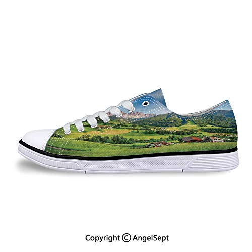 Women Sneakers Spring with Fresh Grass Sky Lace-up Low Top Canvas -