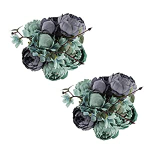 EZFLOWERY 2 Pack Artificial Peony Silk Flowers Arrangement Bouquet for Wedding Centerpiece Room Party Home Decoration, Elegant Vintage, Perfect for Spring, Summer and Occasions (2, New Blue) 27
