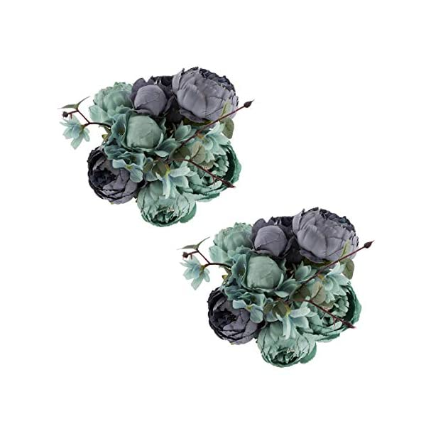 EZFLOWERY 2 Pack Artificial Peony Silk Flowers Arrangement Bouquet for Wedding Centerpiece Room Party Home Decoration, Elegant Vintage, Perfect for Spring, Summer and Occasions (2, New Blue)