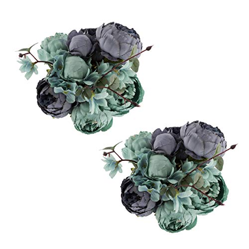 EZFLOWERY 2 Pack Artificial Peony Silk Flowers Arrangement Bouquet for Wedding Centerpiece Room Party Home Decoration, Elegant Vintage, Perfect for Spring, Summer and Occasions (2, New Blue)]()