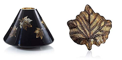 Yankee Candle Autumn Foliage Flicker Jar Shade/Topper and a Gilded Maple Leaf Jar Candle Tray