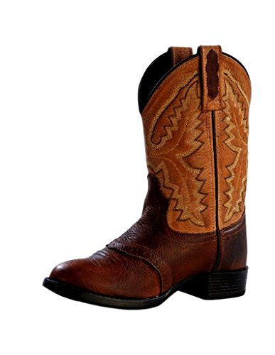 Old Saddle - Old West Boys' Saddle Vamp Western Boot Rust 12.5 D(M) US