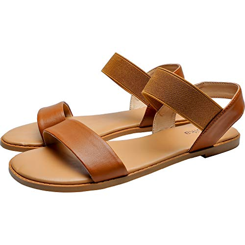 Women's Wide Width Flat Sandals - Classic One Band Elastic Strap Comfortable Summer Shoes.(181118,Brown,6)