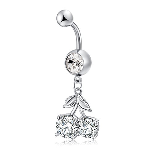 - Wal front Stainless Steel Dangle Cherry Shape Belly Button Rings Anti-allergy Zircon Body Piercing Jewelry with Long Pendant(Silver)