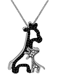 Black and White Natural Diamond Mom & Baby Giraffe Pendant Necklace 14k Gold Over Sterling Silver