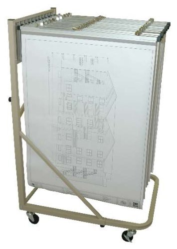 Adir Corp. Vertical File Rolling Stand for Blueprints - Plans, Sand Beige with 12 18'' File Hanging Clamps by Adir Corp.
