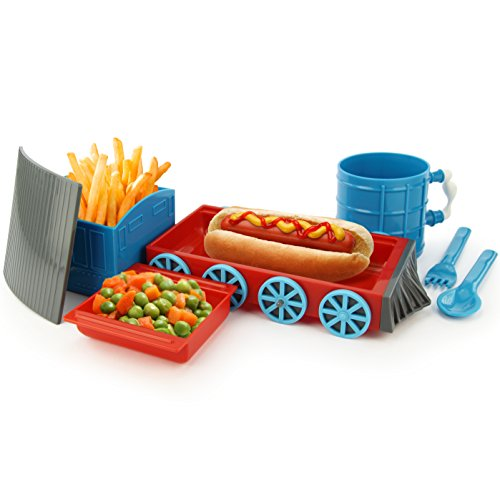 KidsFunwares Chew-Chew Train Place Setting, Blue - Transforms from a Train into a Functional Meal Set - Includes Bowl, Small Plate, Plate, Fork, Spoon, and Cup - Great Gift for Kids - Dishwasher Safe by KidsFunwares (Image #3)