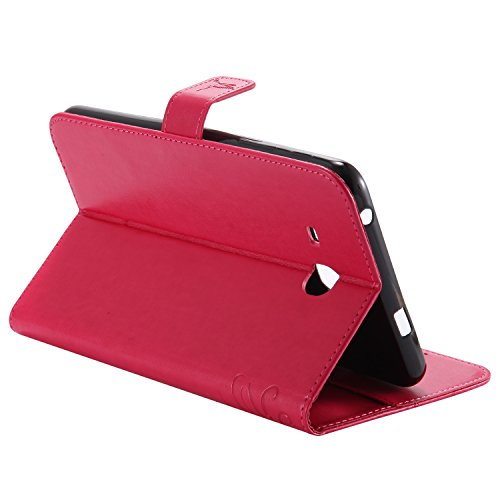 Samsung Galaxy Tab A 7.0 Case, BONROY® Samsung Galaxy Tab A 7.0 SM-T280 Smart Case Cover Cat and Tree pattern series Ultra Slim Smart-shell Built-in Stand Auto Wake/Sleep For Samsung Galaxy Tab A 7.0 Girl and cat - red