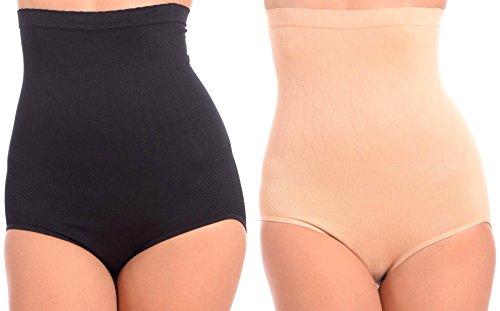 WunderWear Women's 2 Pack Seamless Firm Control Compression Hi-Waist Briefs (Nude, Black, 3X)