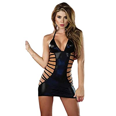 JUNKE Women Sexy lingerie Stripper Patent leather Underwear Jumpsuits Clubwear
