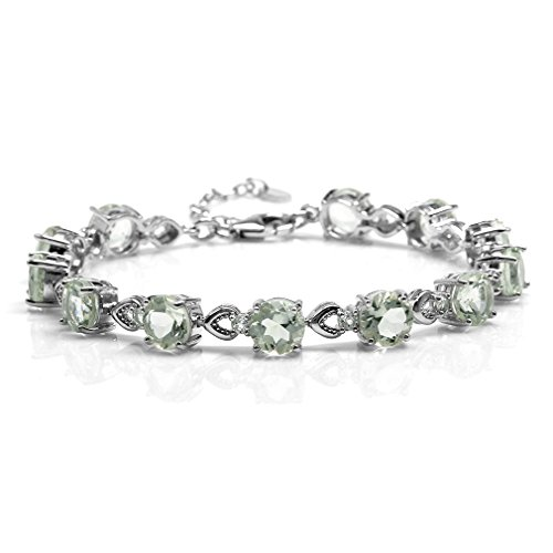 15.6ct. Natural Green Amethyst White Gold Plated 925 Sterling Silver 7-8.5