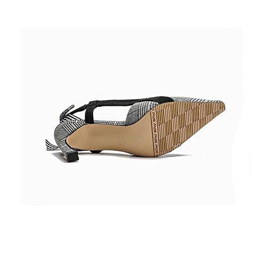 Donna Dimensioni Alto Tacco Scarpe Grigio da Sandali Tacco 35 Sottile a Punta Sexy Slim Versatili Moda Colore qZ4Twgx7FT
