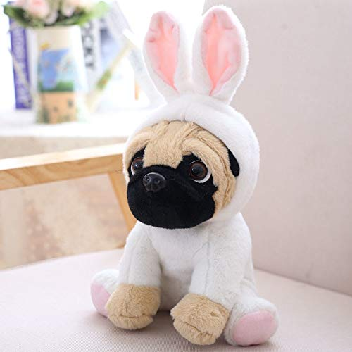 (Max Corner Pug Dog Doll in Animal Costume Cosplay , Hood Can Open Puppy Soft Toy for Kid Veterinary)