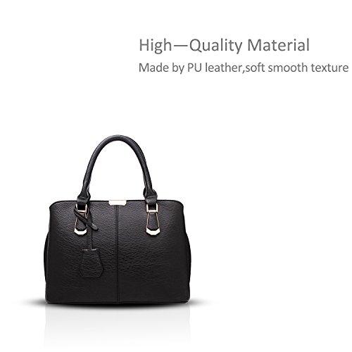 NICOLE&DORIS nueva tendencia europea del bolso del estilo minimalista bolso casual bolsa de trabajo a través del cuerpo(Black) Negro