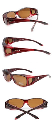 Duco Unisex Wear Over Prescription Glasses Rx Glasses Polarized Sunglasses 8953 Common Size Wine Red Frame Brown Lens