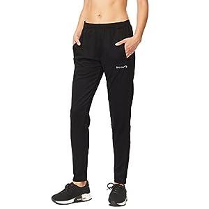 Baleaf Women's Athletic Track Pants Running Sweatpants Black/Black Size M