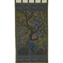 Tree of Life Tab Top Curtain-Drape-Door Panel-Olive