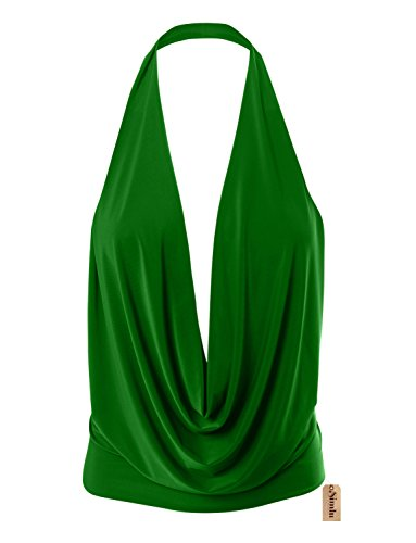 Simlu Womens Lightweight Sexy Drape Backless Cowlneck Low Cut Halter Top with Stretch Kelly Green Medium - Green Halter Top Shirt