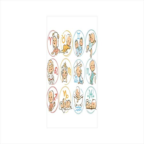 Decorative Window Film,No Glue Frosted Privacy Film,Stained Glass Door Film,Set of Zodiac Sign with Cute Colorful Baby Figures Sleeping Future Character Print Decorative,for Home & Office,23.6In. by - Glass Zodiac Stained