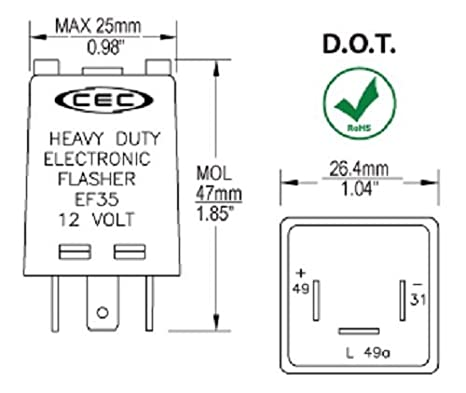 amazon com cec industries ef35 electronic flasher automotive rh amazon com Sho Me Flasher Wiring-Diagram Flasher Circuit Diagram