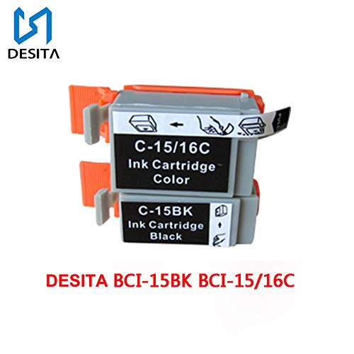 (S DESITA Remanufactured Ink Cartridges Replacement for Canon BCI-15 Black Ink Cartridge Compatible with Canon i70 i80 ip90 ip90v Printer (BCI-15 Black, BCI-16 Color) 2 Pack)