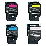 BLACK HAWK Compatible Lexmark 70C10C0 Toner - (4-pack 1-BK,1-CY,1-MG,1-YL) (701C) CS310n CS310dn CS410n CS410dn CS410dtn CS510de CS510dte Toner (1000 Yield)