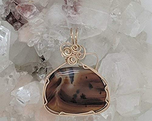 Montana Moss Agate Pendant (1-3/4 x 1-3/8 Inches) Wrapped With 14 Karat Gold Filled Wire (Brown Black Clear) (Wire Wrap)