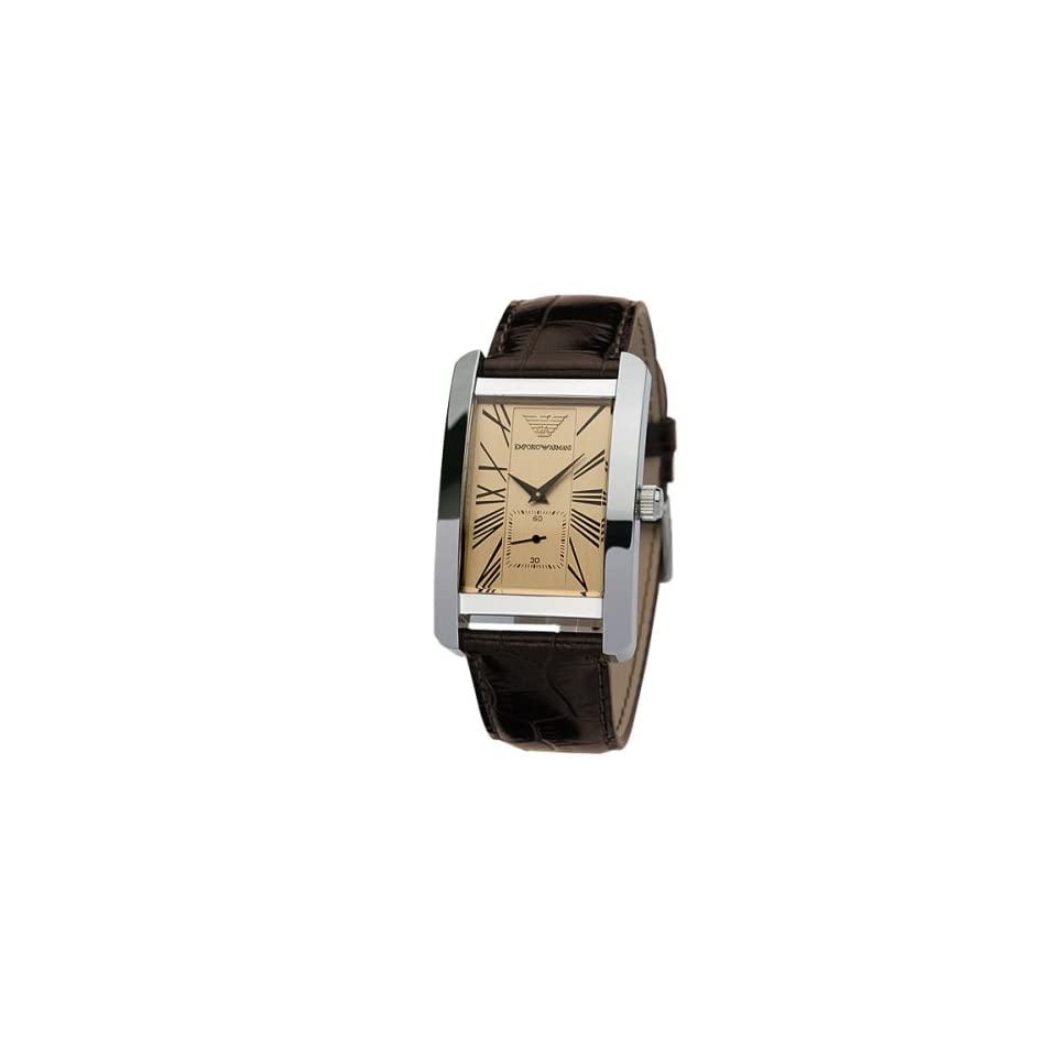 Emporio Armani Mens AR0154 Classic Brown Leather Beige Roman Numeral Dial Watch