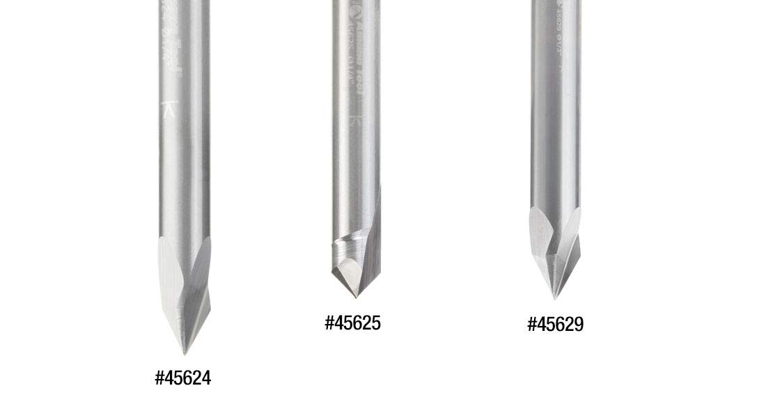45624 Solid Carbide V-Groove 60 Deg x 1//4 Dia x 31//64 x 1//4 Shank Amana Tool
