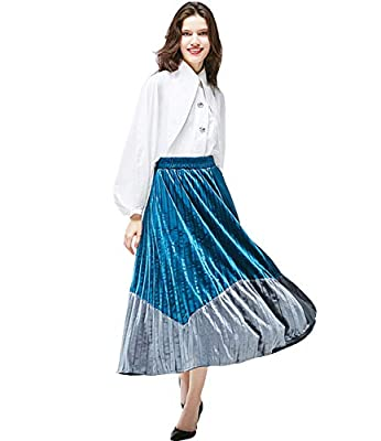 Medeshe Women's High Elastic Waist A-line Flared Warm Pleated Maxi Skirt