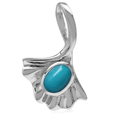 Genuine Arizona Turquoise White Gold Plated 925 Sterling Silver Ginkgo Leaf Solitaire Pendant