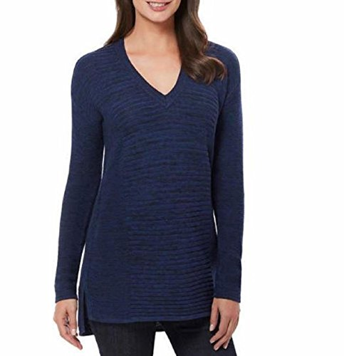 Ellen Tracy Womens Knit V-Neck Marled Pullover Sweater (Small, Admiral Blue - Sweater Marled V-neck