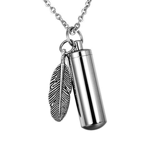 (HooAMI Memorial Jewelry Cylinder Cremation Urn Necklace Keepsake Keychain - Feather Pendant)