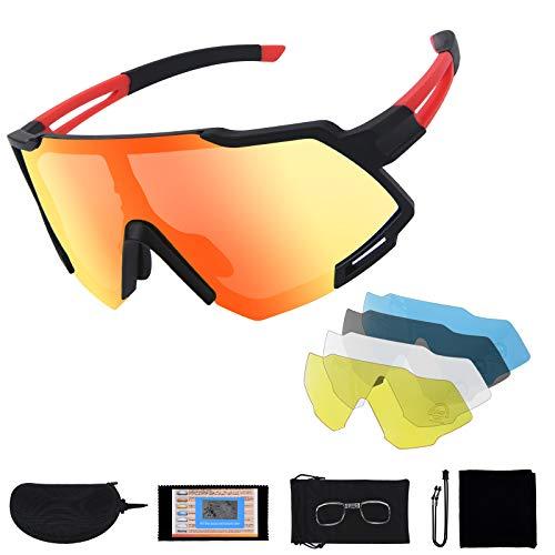 Flintronic Gepolariseerde sportzonnebril, uv-400 bescherming, fietsbril, met 5 verwisselbare lenzen, voor fietsen…