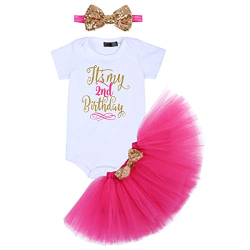 It's My 1/2 / 1st / 2nd Birthday Outfit Baby Girls Romper + Ruffle Tulle Skirt + Sequins Bow Headband Cake Smash Party Dress Easter Valentine's Day Photo Shoot Costume 3Pcs Clothes Set Hot 2 Years]()