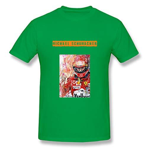 Quickhands Men Michael Schumacher Casual T-Shirt Short-Sleeve Athletic Tee Top Green - Michael Schumacher T-shirt