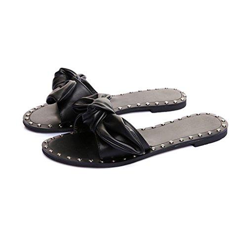 LIXIONG Portátil Sandalias dulces y simples Verano párrafo nudo de mariposa plana plana desgaste zapatillas Comfortable lazy drag -Zapatos de moda ( Color : A , Tamaño : EU36/UK4/CN36 ) B