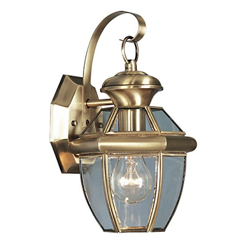 Livex Lighting 2051-01 Monterey 1 Light Outdoor Antique Brass Finish Solid Brass Wall Lantern  with Clear Beveled Glass (Renewed)