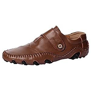 UJoowalk Mens Comfortable Outdoor Formal Cool Velcro Octopus Driving Walking Casual Loafers Shoes(10B(M) US, dark brown)