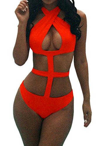 Viottis Women's Bandage Criss Cross One Piece Monokini Swimsuit 1Orange - Cross Orange Criss