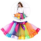 Tinksky Girls Rainbow Tutu Skirt Costume Layered Ruffle Tiered Dance Performance Dress for Girls 7-9 Years Old