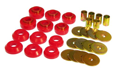 Prothane 7-127 Red Body Mount Kit with Hardware (Replacement Urethane Body Bushing)