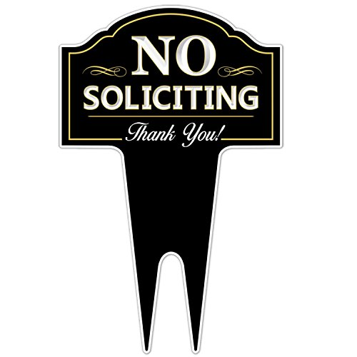 No Soliciting Outdoor Metal Yard Sign for Home, House and Business | Stylish Laser Cut | Made with Heavy Duty...